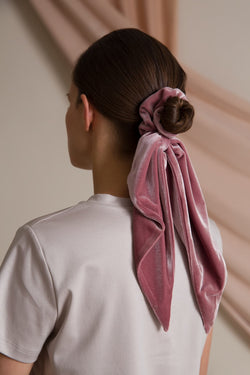 Ema big velvet scrunchie heather pink