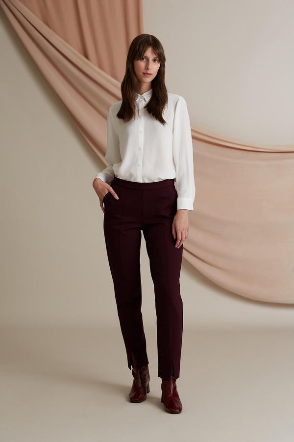 Emilia knit trousers burgundy