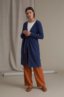 ERIKA Long Rib Cardigan light blue
