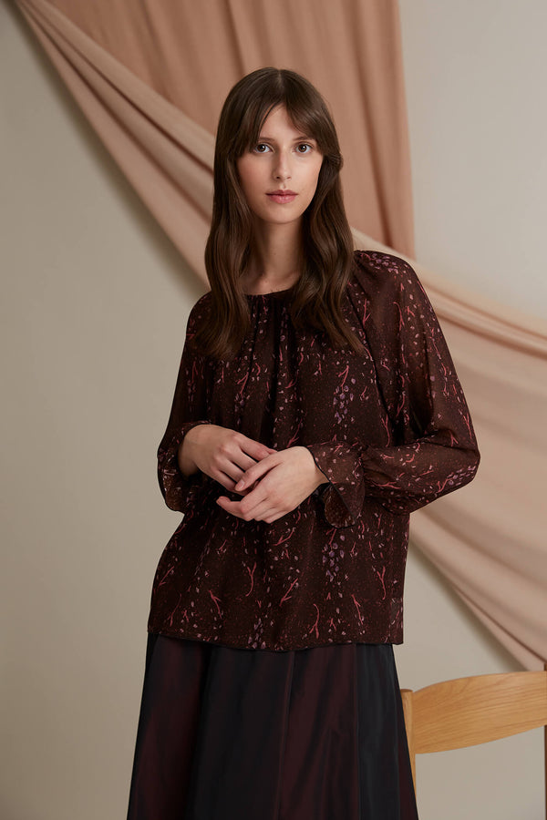Esther chiffon top burgundy heather pink