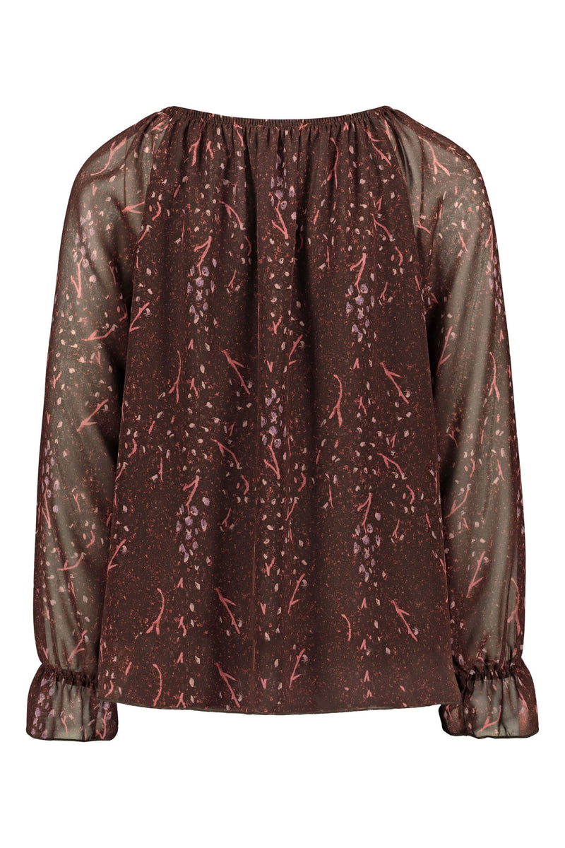 Esther chiffon top burgundy pink back