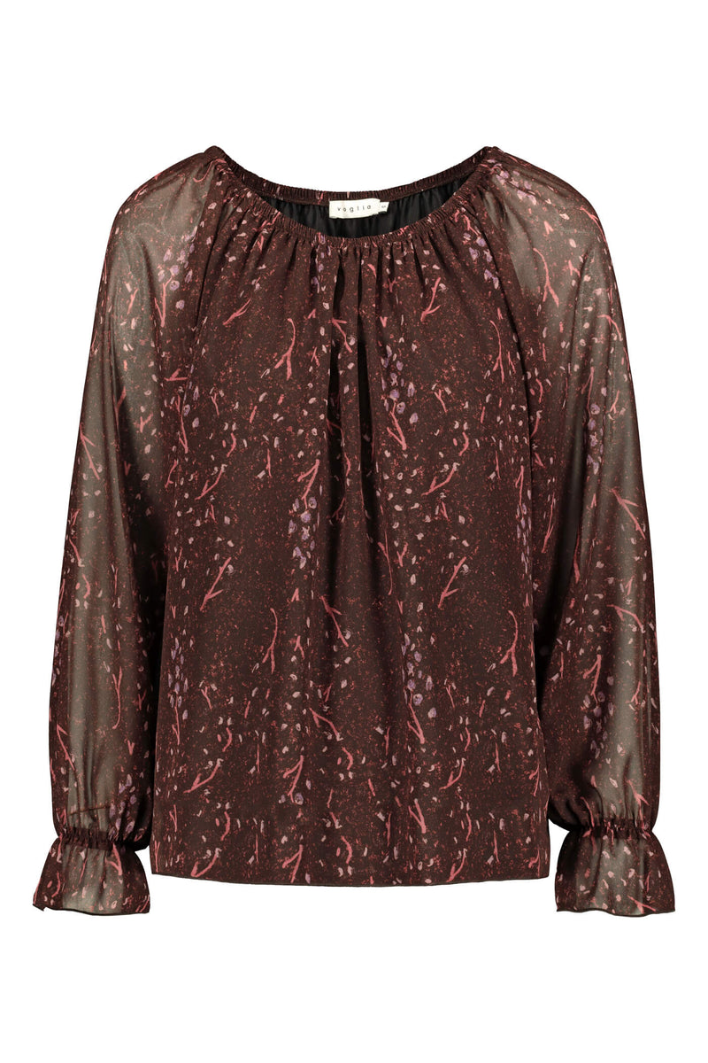 Esther chiffon top burgundy pink front