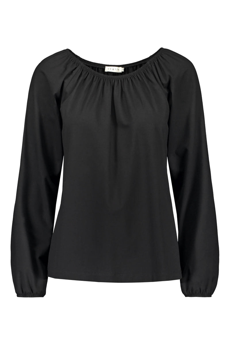 EVALYN Raglan Sleeve Blouse black front