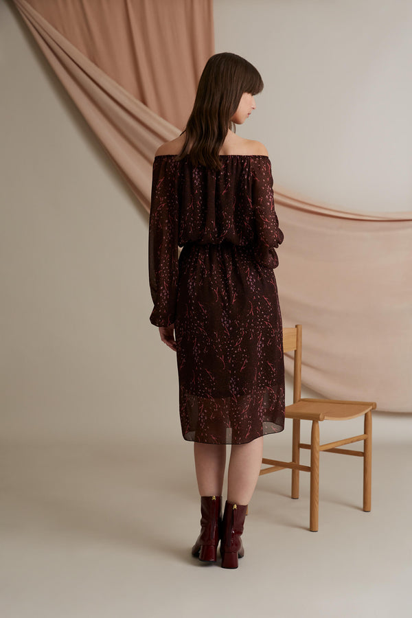 Evelyn chiffon dress burgundy heather pink behind
