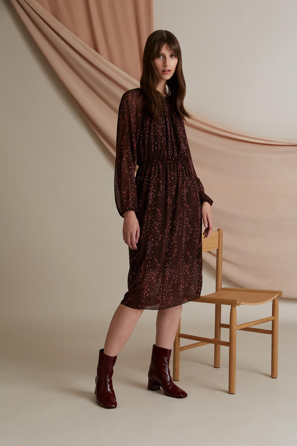 Evelyn chiffon dress burgundy heather pink