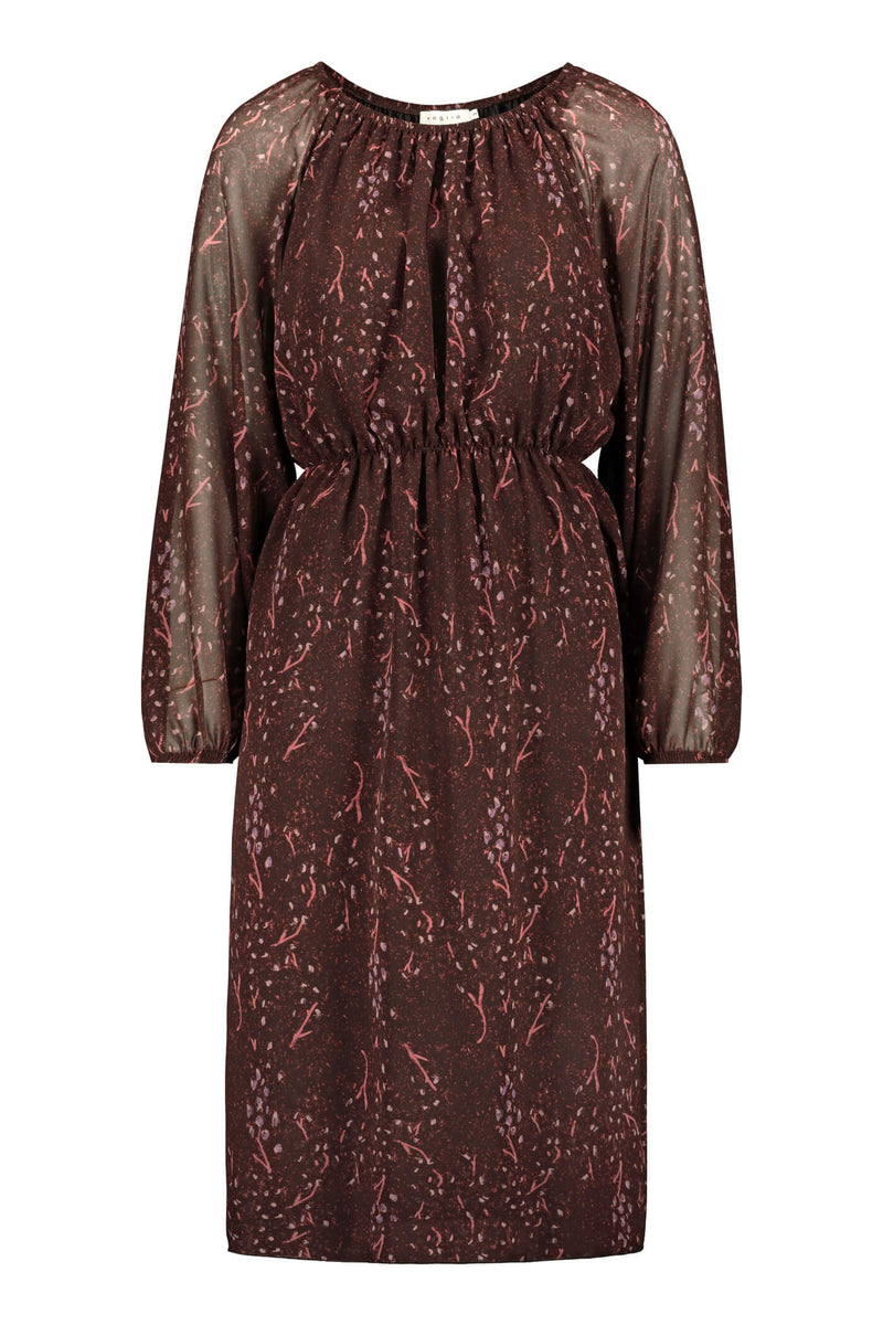 Evelyn chiffon dress burgundy pink front