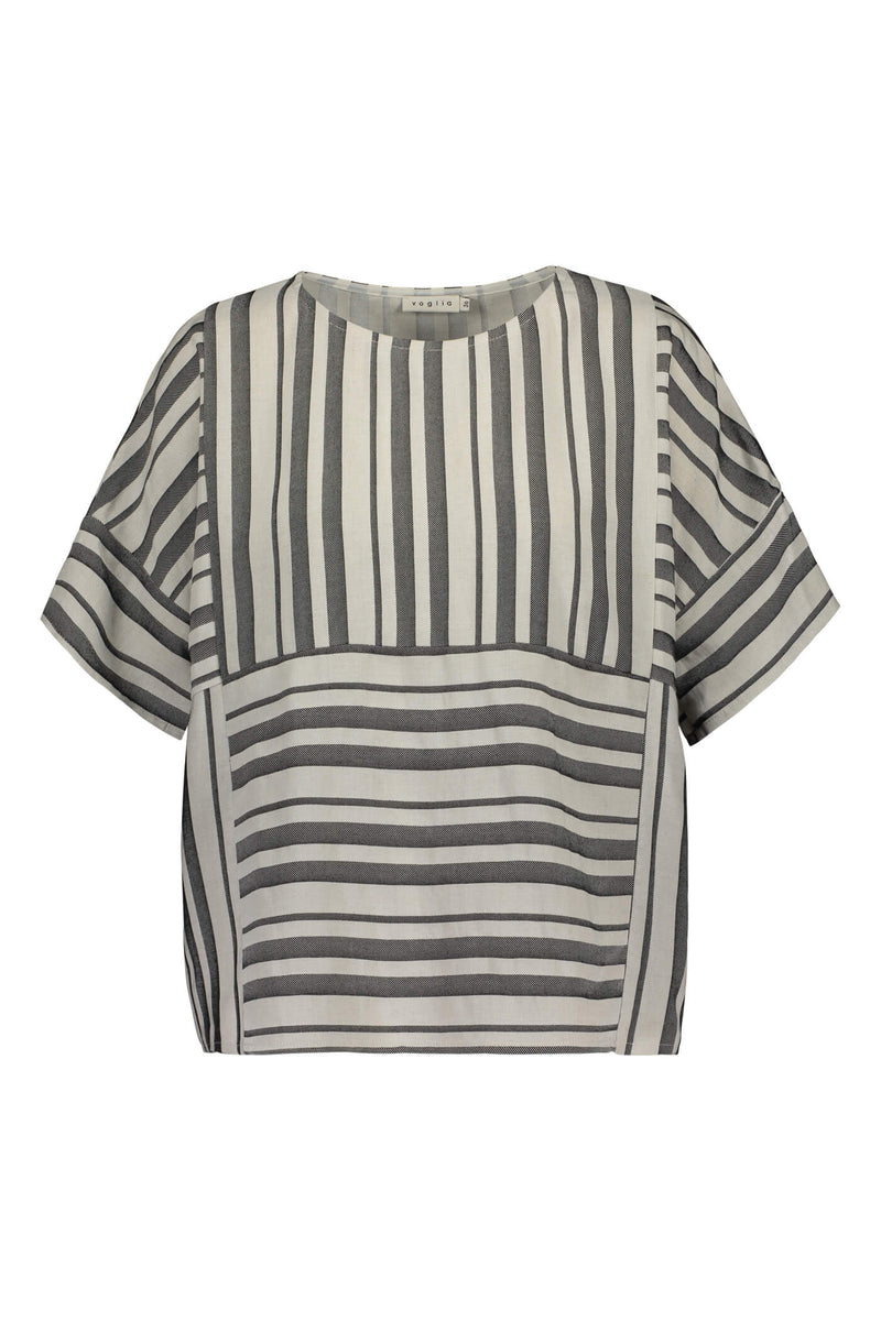FELICE Short Sleeve Striped Top black-white front