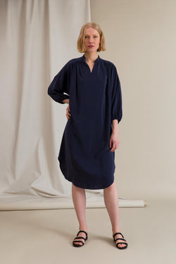 FERN Loose Silk Dress dark blue
