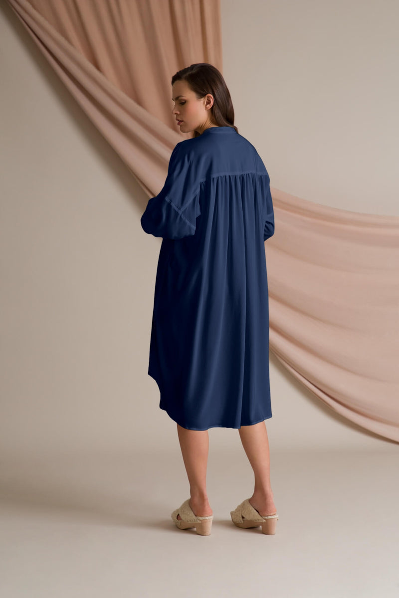Fern silk dress dark blue behind