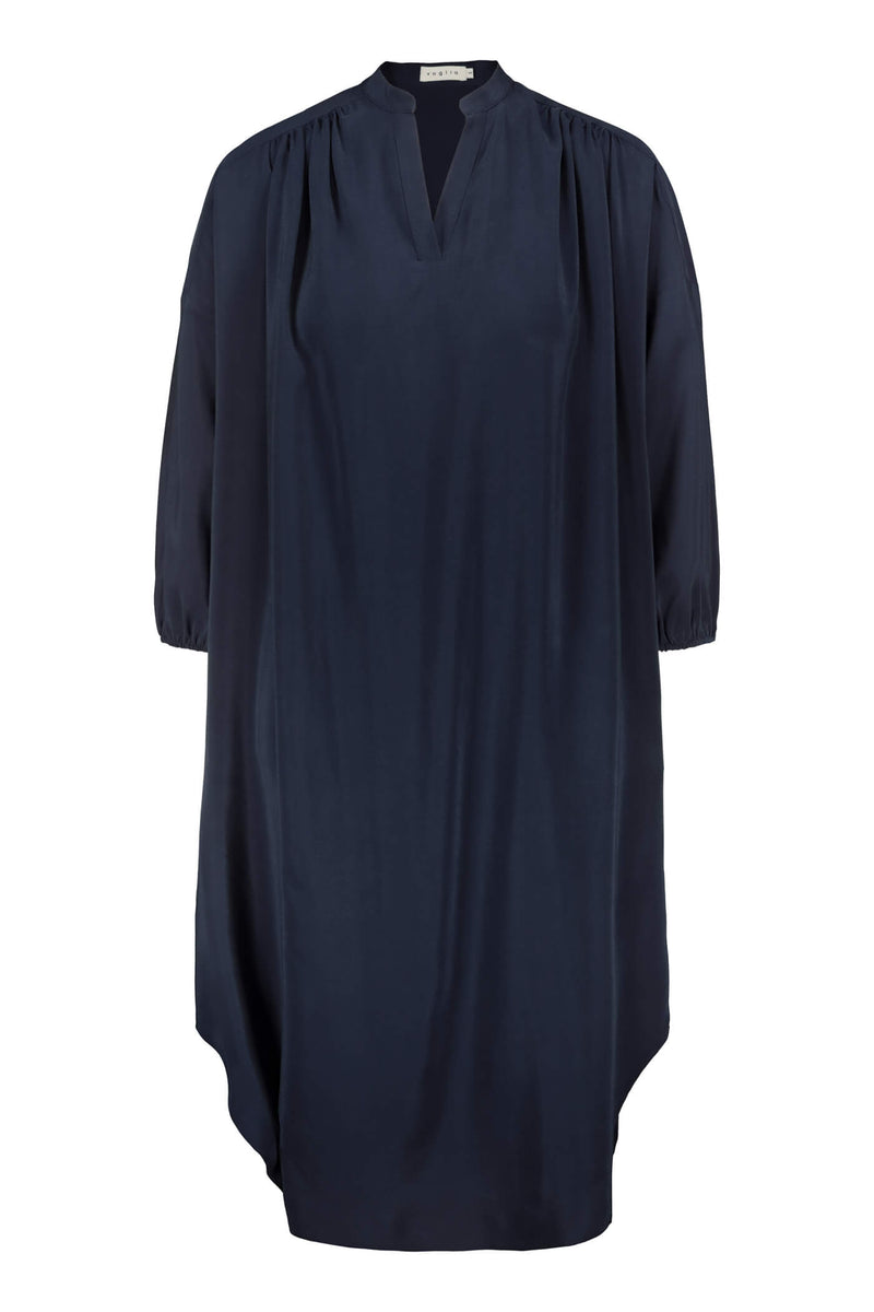 FERN Silk Dress dark blue front