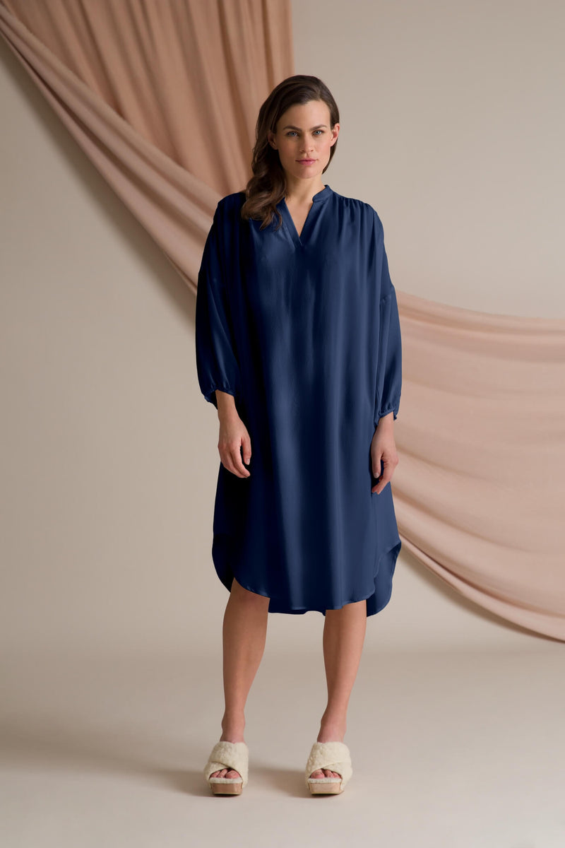 Fern silk dress dark blue