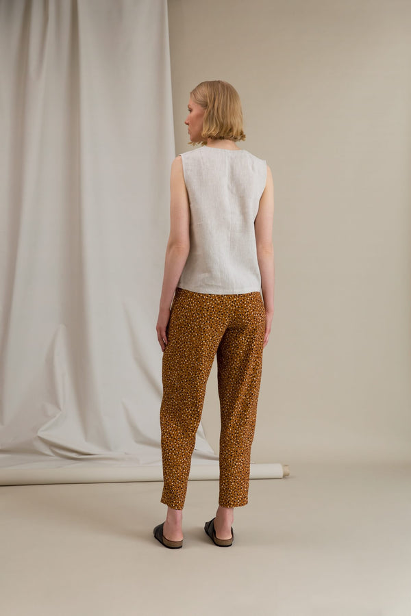 FIONA Dot Pattern Trousers chestnut behind