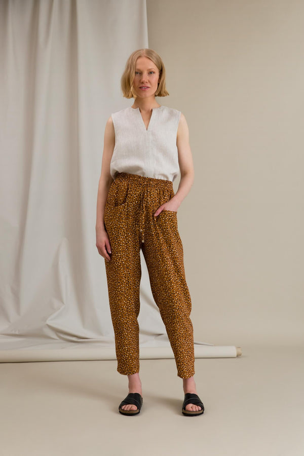 FIONA Dot Pattern Trousers chestnut