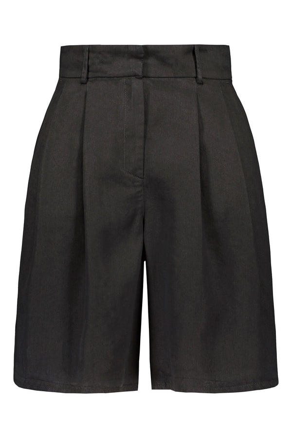 FRANCES Pleated Shorts blackest front