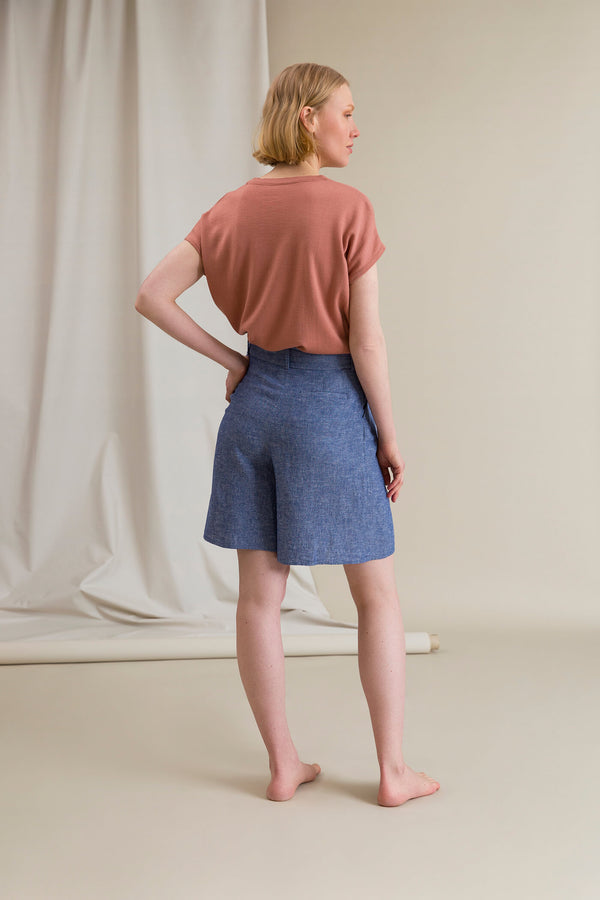 FRANCES Pleated Shorts blue behind