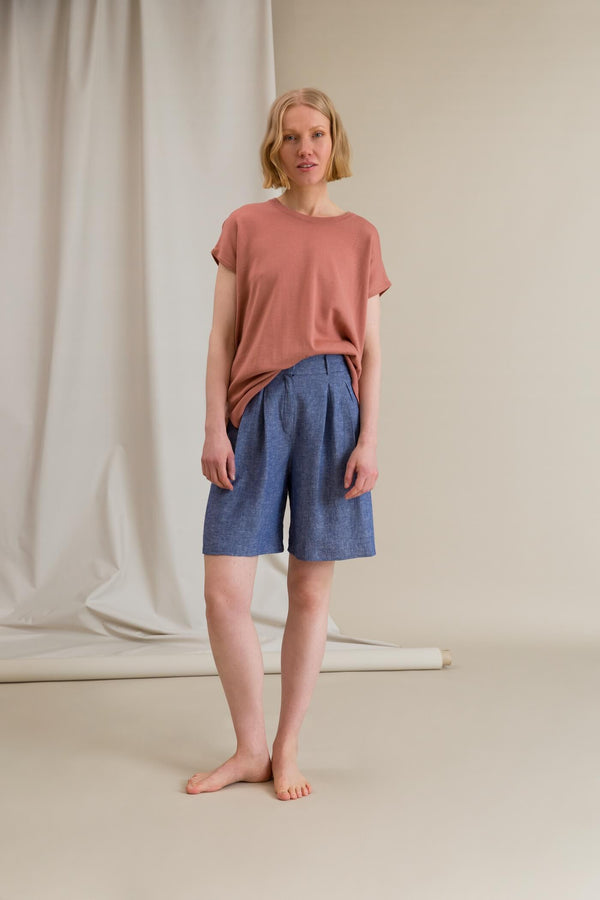 FRANCES Pleated Shorts blue