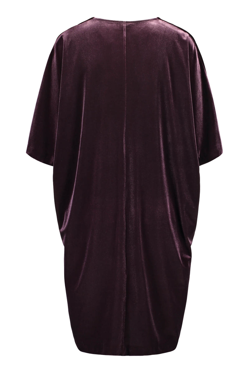 Georgina velvet dress burgundy back