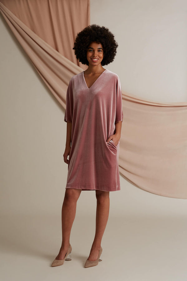 Georgina velvet dress heather pink
