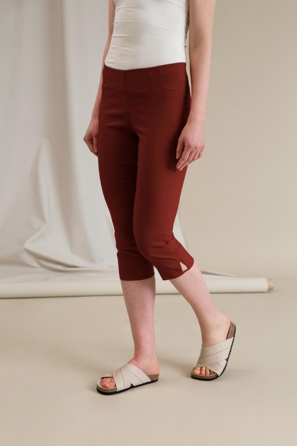 GINA Capri Stretch Trousers dark terra