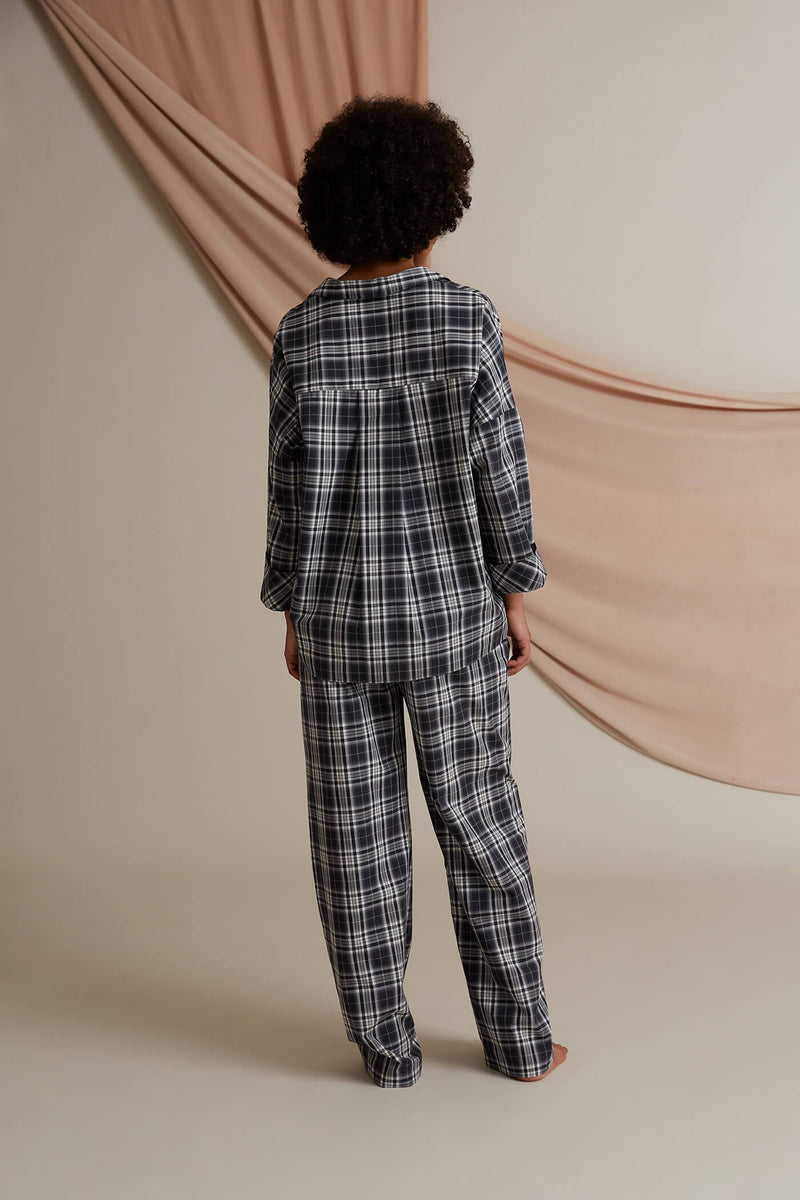 Gisela pyjama trousers dark grey behind