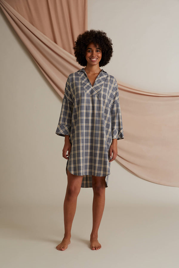 Goldie pyjama shirt dress dark grey front