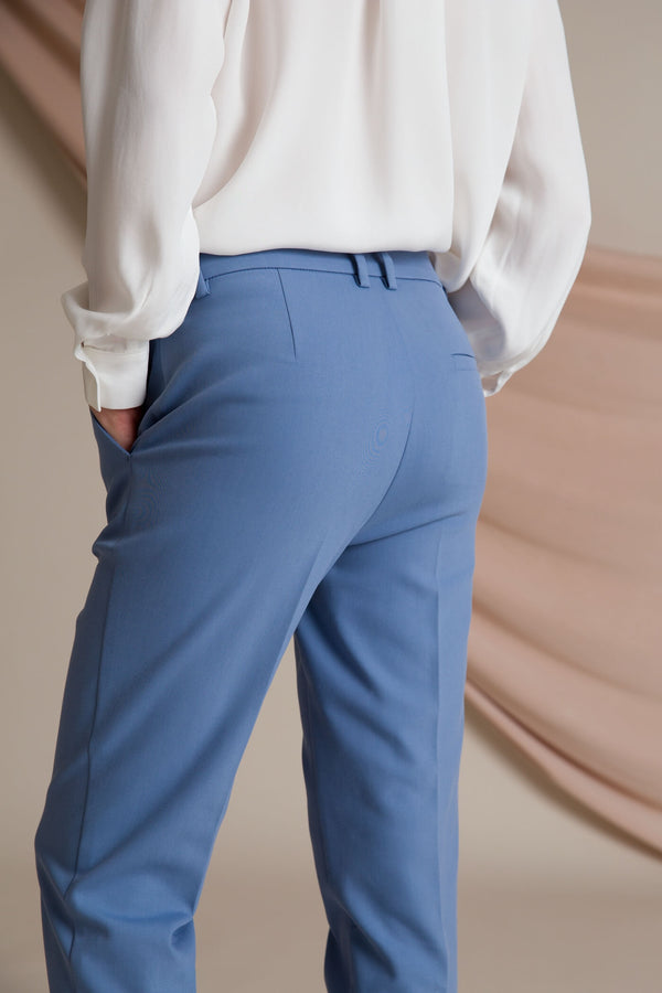 HARPER Press Trousers dusty blue behind