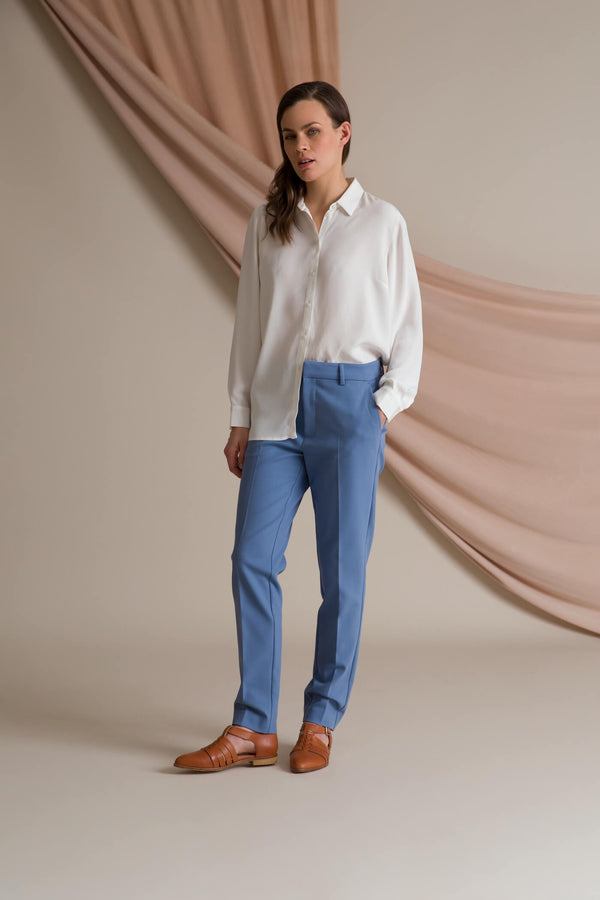 HARPER Press Trousers dusty blue