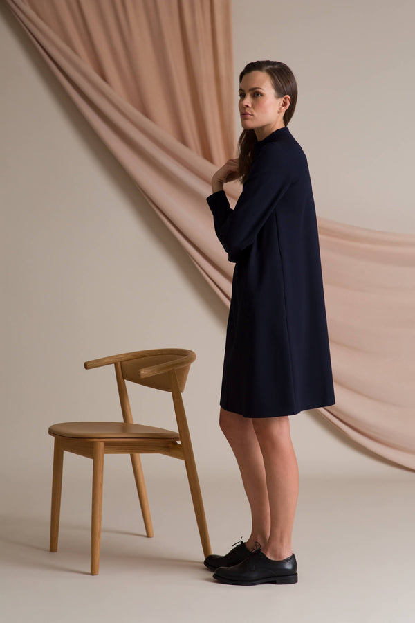 High neck knit dress dark blue behind