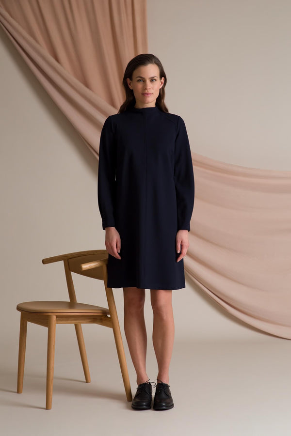 High neck knit dress dark blue