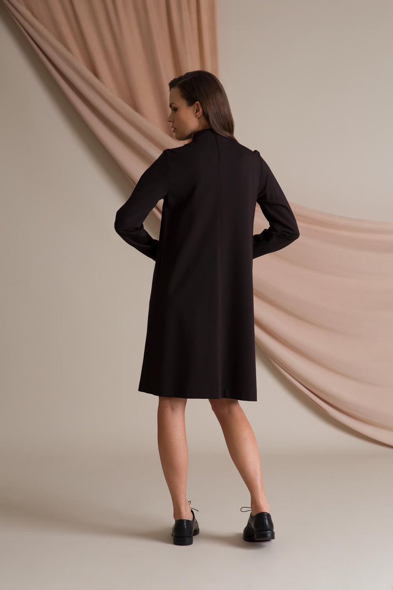 High neck knit dress dark brown behind
