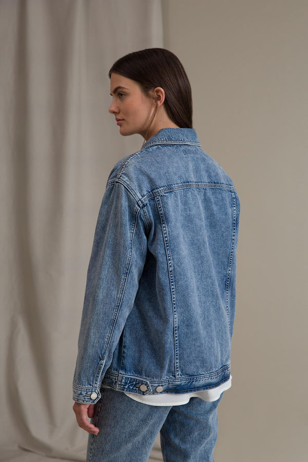 HOPE Denim Jacket blue denim behind