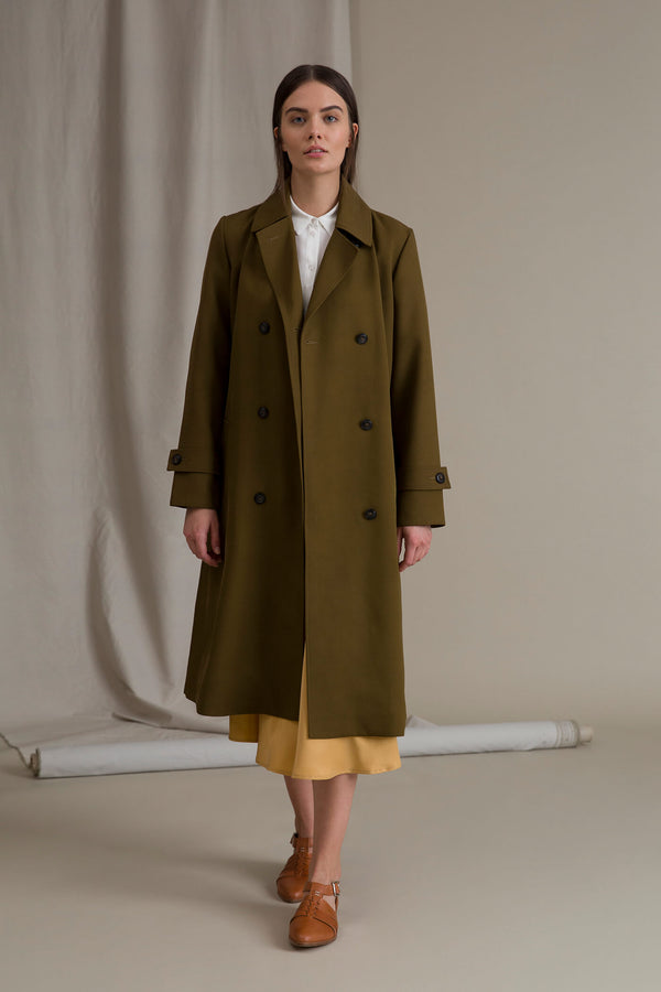 ISLA Trench Coat pine green unbuttoned