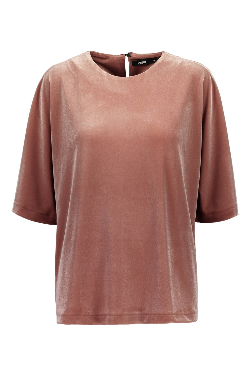 Jessica loose fit velvet top heather pink front