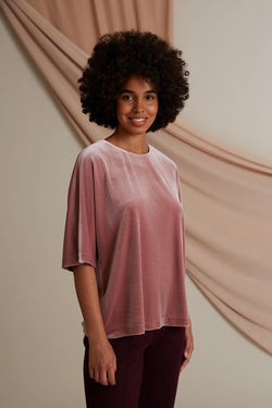 Jessica loose fit velvet top heather pink