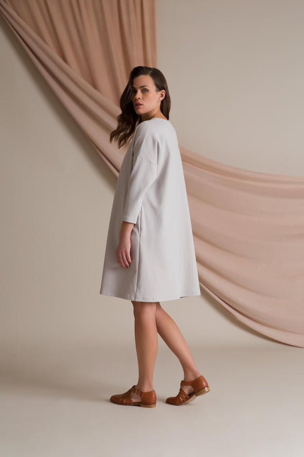 KAMILLA Boxy Dress pearl grey behind