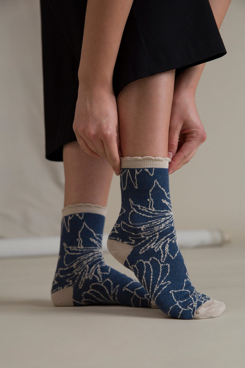 MIRIAM Patterned Socks blue