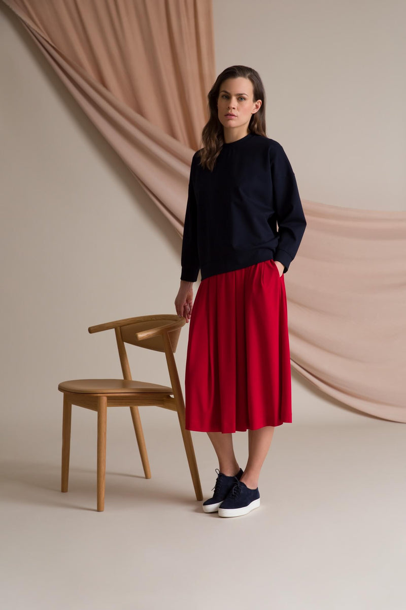 Poppy wide hem knit skirt red