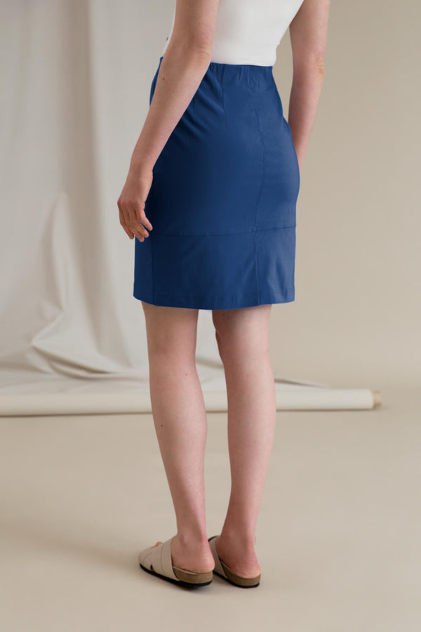 SAMANTHA Stretchy Skirt smokey blue behind