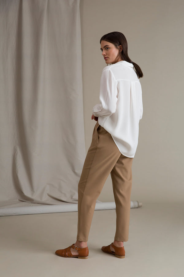SYLVIE Wool Blend Trousers beige behind