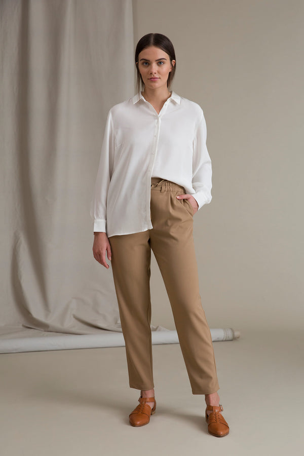 SYLVIE Wool Blend Trousers beige