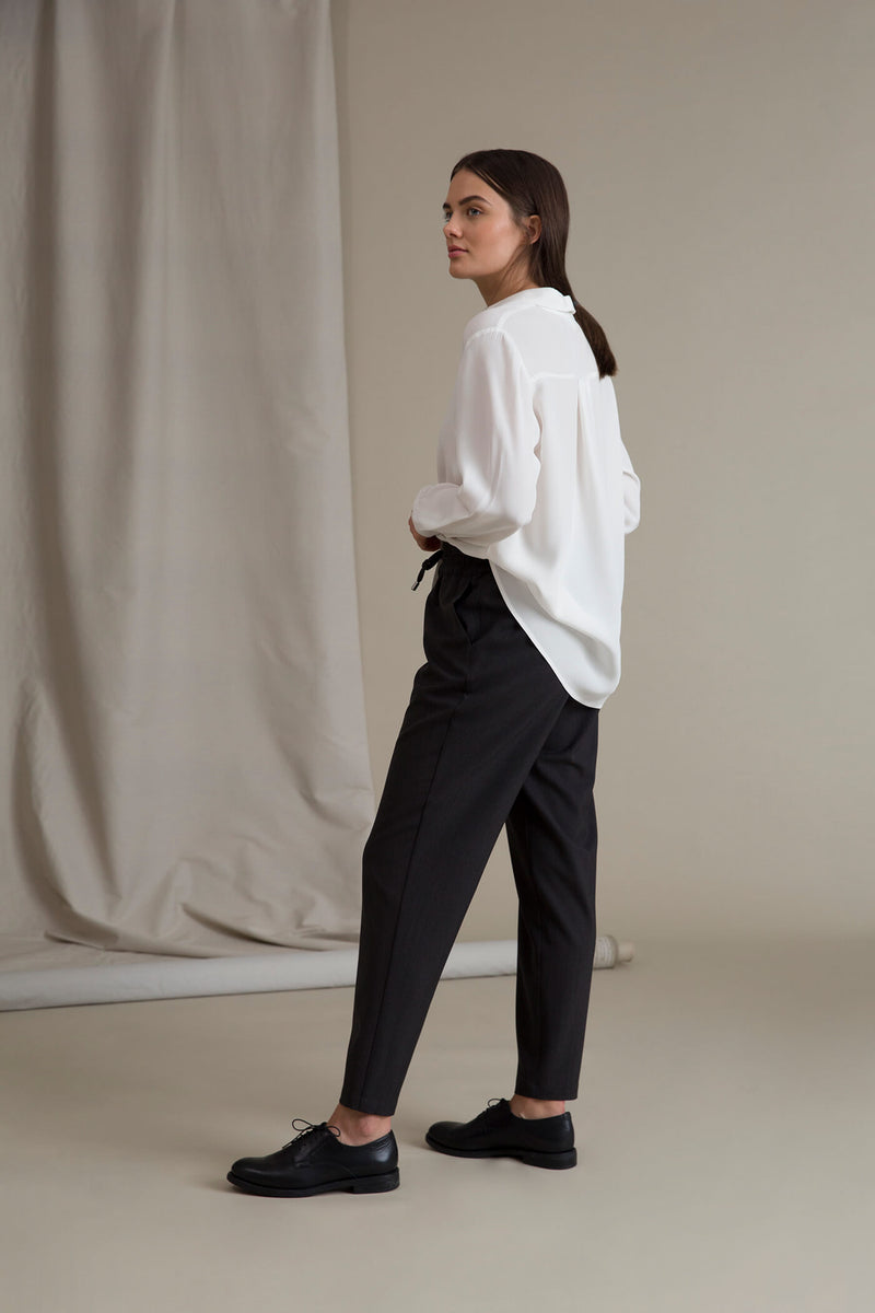 SYLVIE Wool Blend Trousers dark grey behind