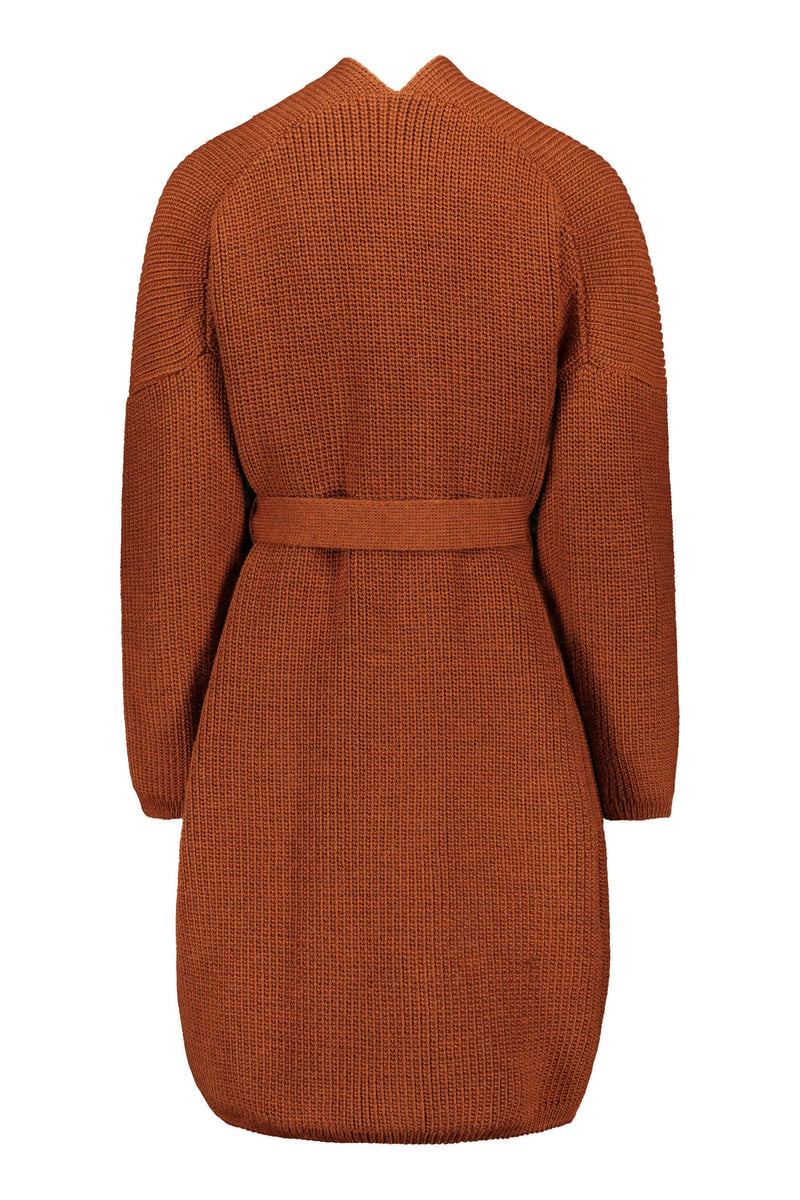 Voglia Akira long wool cardigan chestnut back