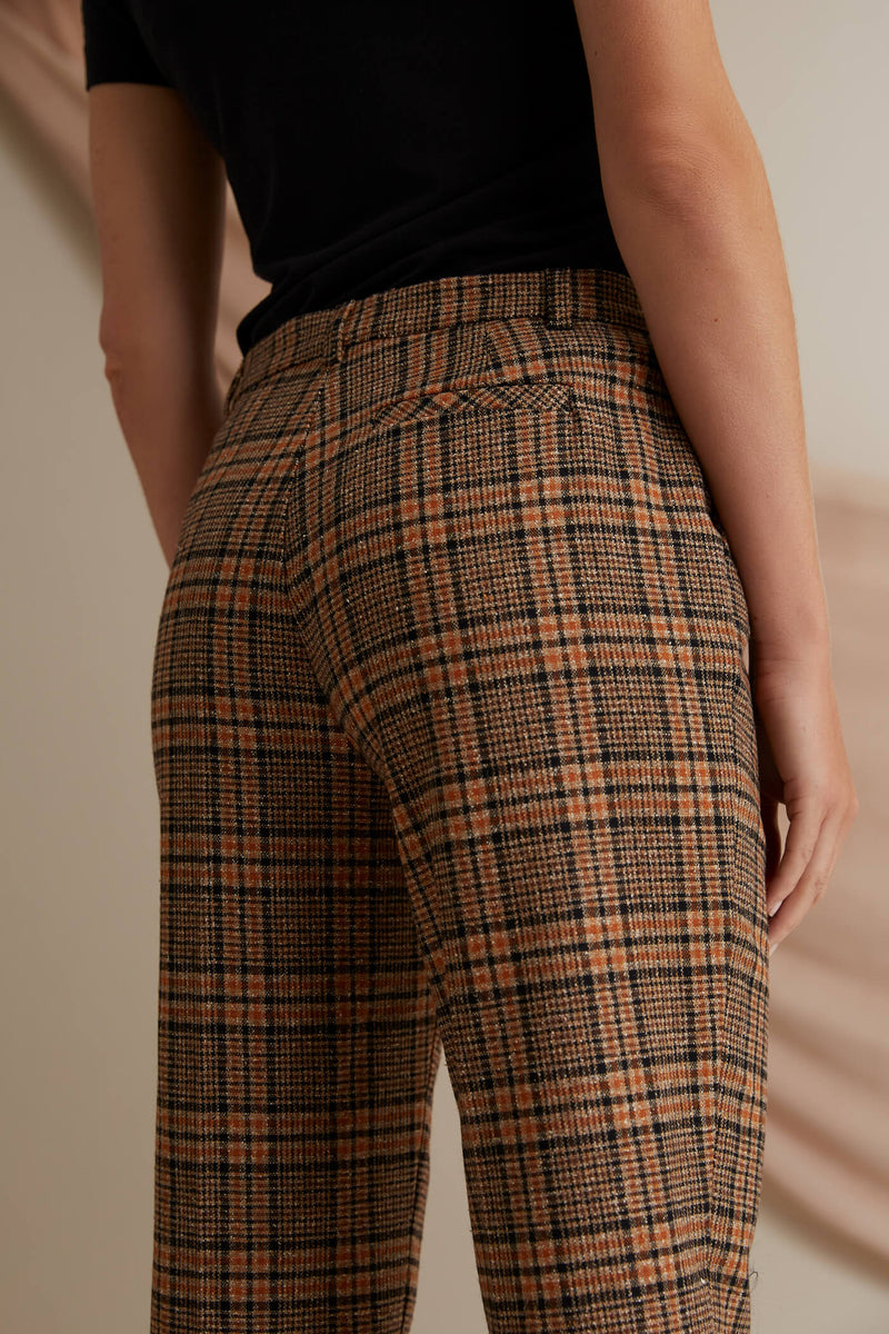 Voglia Amalia checked wool trousers brown behind