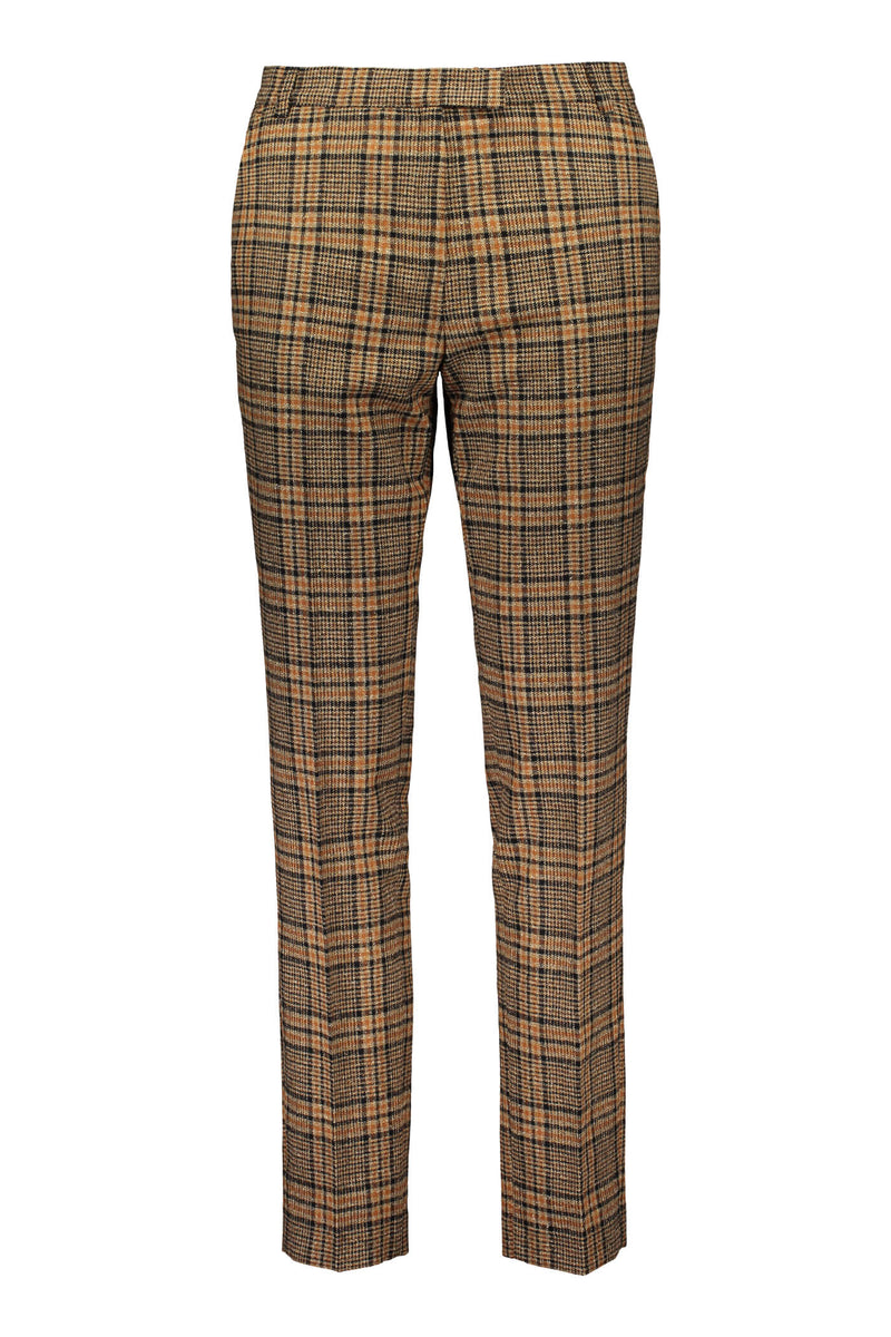 Voglia Amalia checked wool trousers brown front