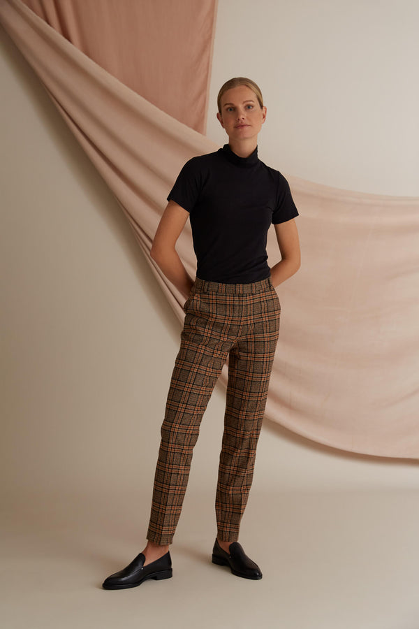 Voglia Amalia checked wool trousers brown