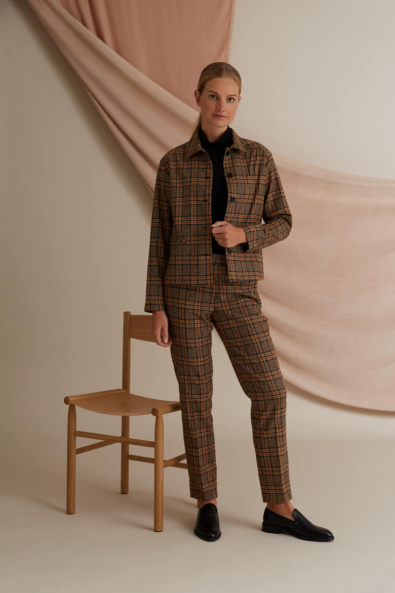 Voglia Amalia checked wool trousers outfit