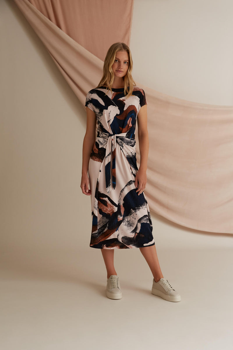 Voglia Annie printed jersey dress blush
