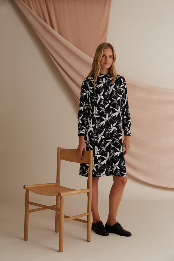 Voglia Astrid printed shirt dress black & white