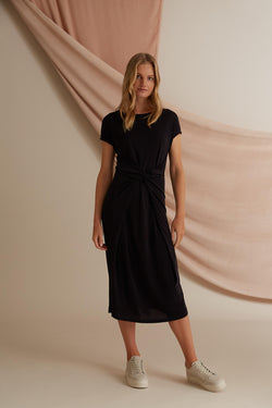 Voglia black Annie belt wrap tricot dress