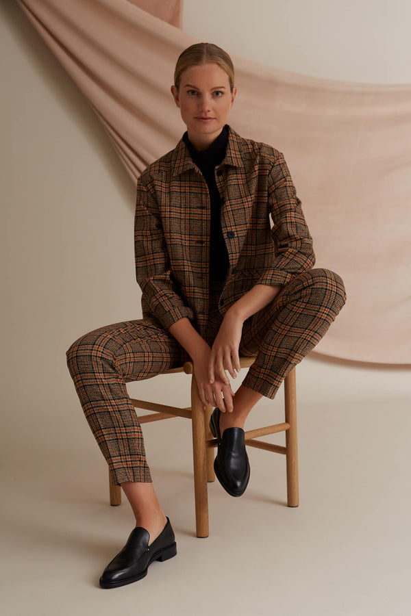 Voglia Amalia checked wool trousers and shirt